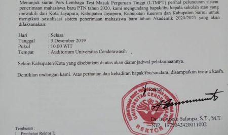 UNDANGAN SOSIALISASI PENERIMAAN MAHASISWA BARU TAHUN 2020