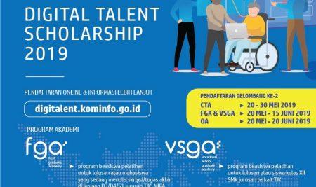 Pendaftaran Gelombang II Beasiswa Talenta Digital 2019