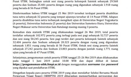 Siaran Pers UTBK 2019