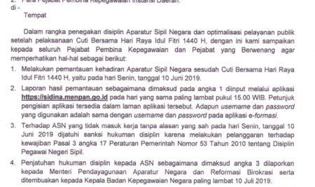 Surat MENPAN Mengenai Cuti Bersama Hari Raya Idul Fitri 1440H